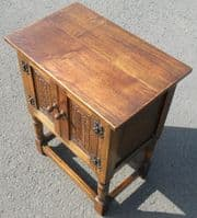 SOLD - Small Carved Reproduction Oak Cupboard